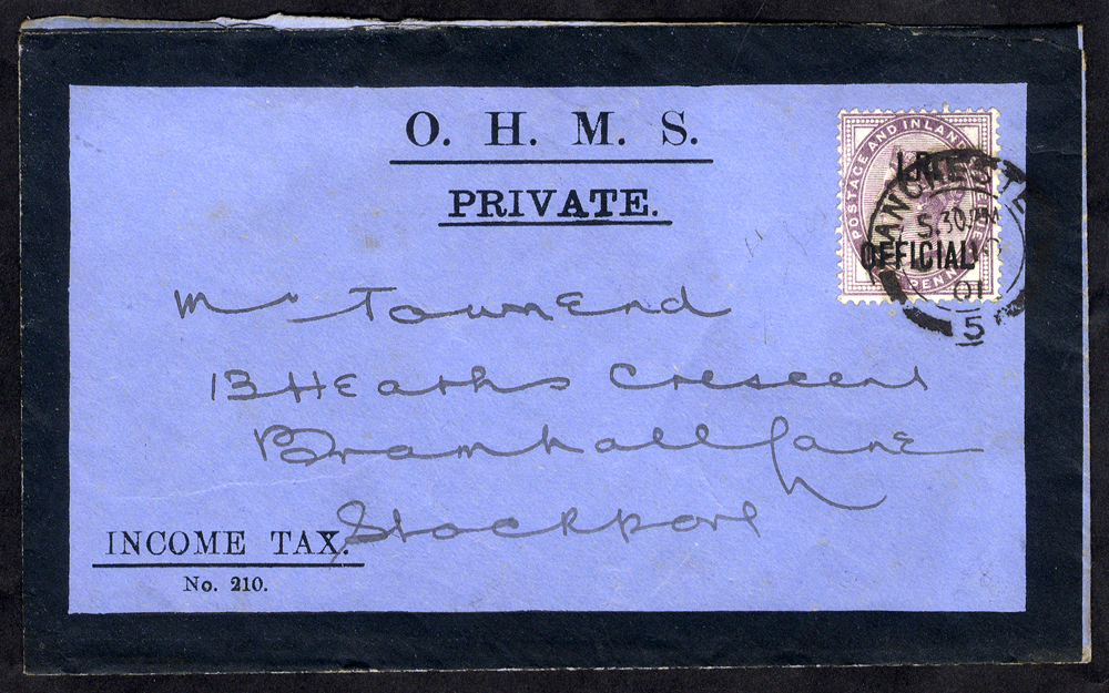 I.R OFFICIAL 1905 O.H.M.S envelope franked 1d lilac