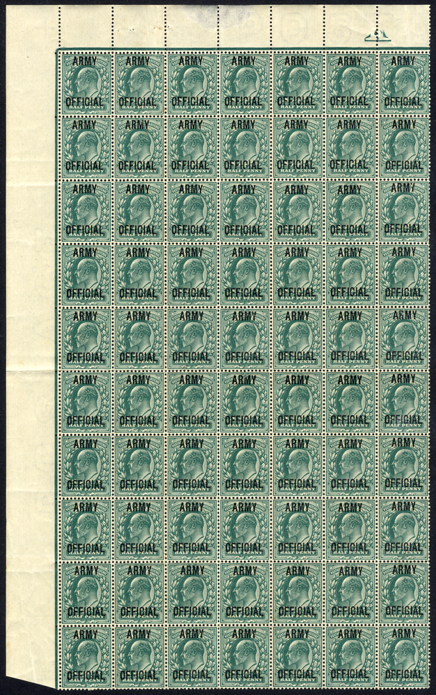 ARMY OFFICIAL 1902-03 ½d blue-green upper left corner marginal block of seventy