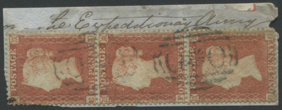 RUSSIA Army Field Offices in the Crimea 1855 1d red-brown, Die I, Small Crown P.16 strip of three