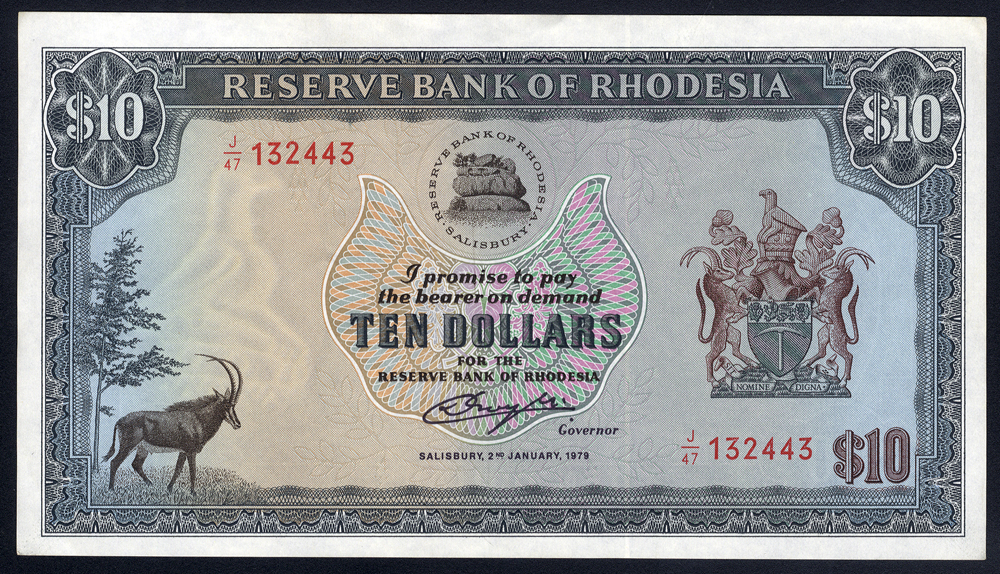 Rhodesia $10, dated 1979