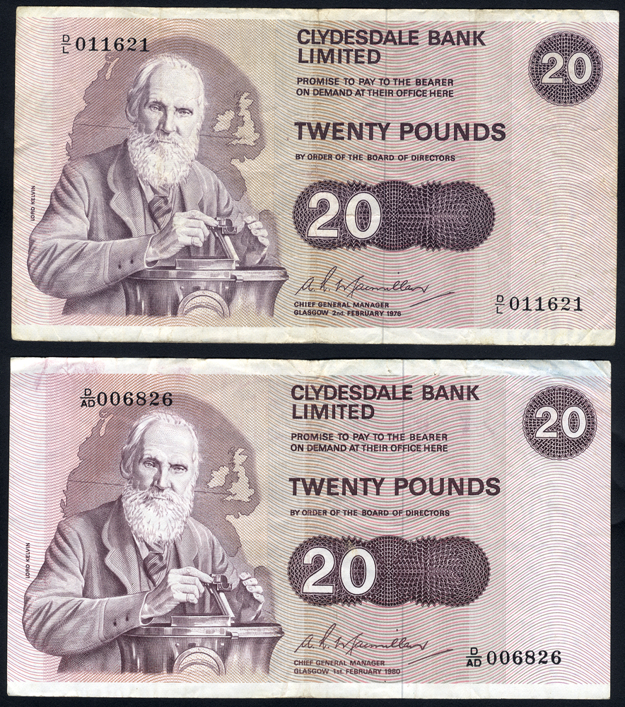 Clydesdale Bank Ltd £20 (2), dated 1976 & 1980