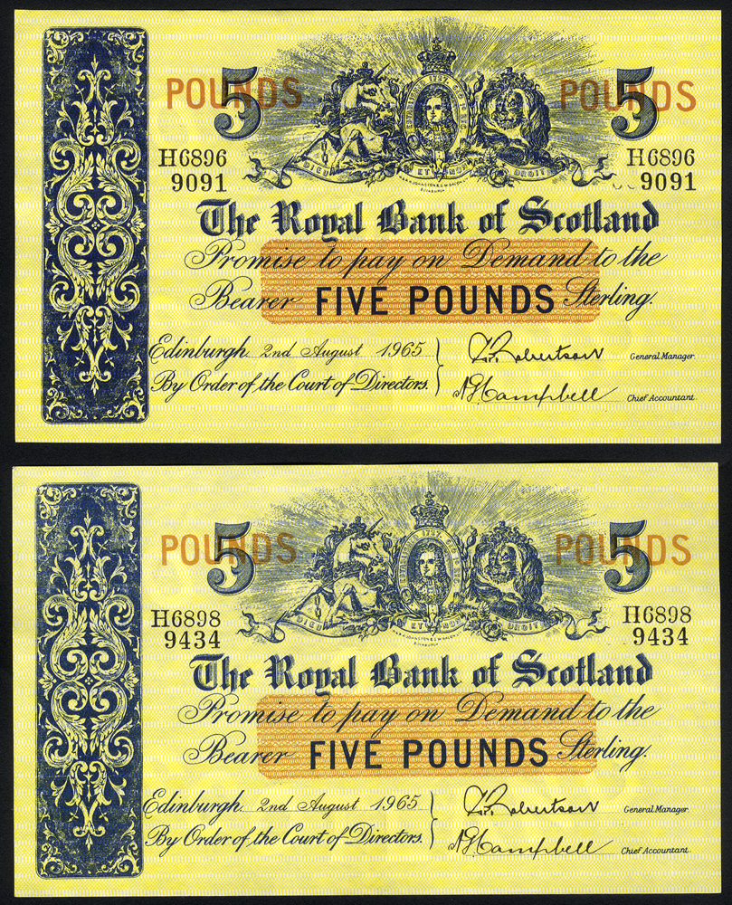 Royal Bank of Scotland £5 (2), dated 1965
