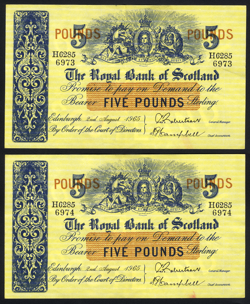 Royal Bank of Scotland £5 (2), dated 1965 - consecutive pair