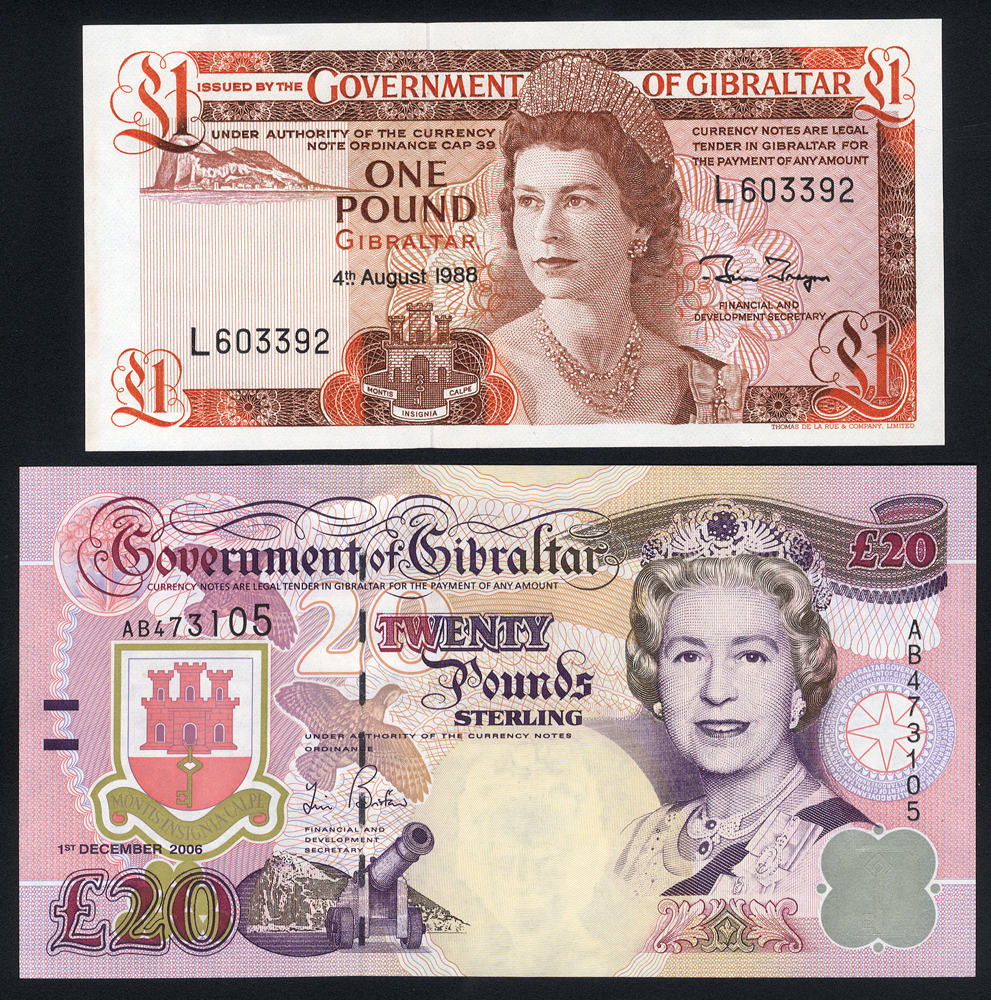 Gibraltar £1, dated 1988 & £20, dated 2006