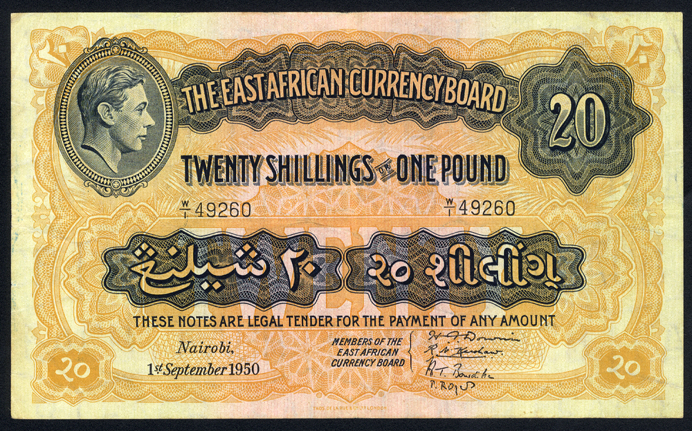 East African - Currency Board 20 shillings, dated 1950