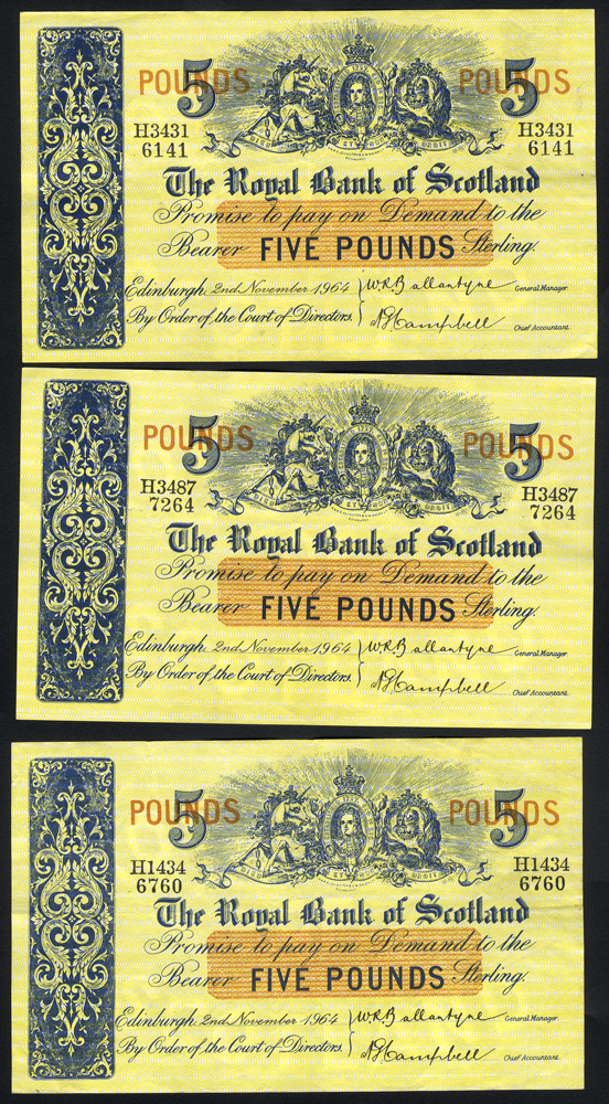 Royal Bank of Scotland £5 (3), dated 1964