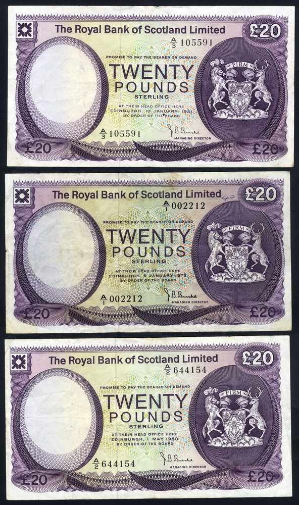 Royal Bank of Scotland £20 (3), dated 1972, 1980 & 1981