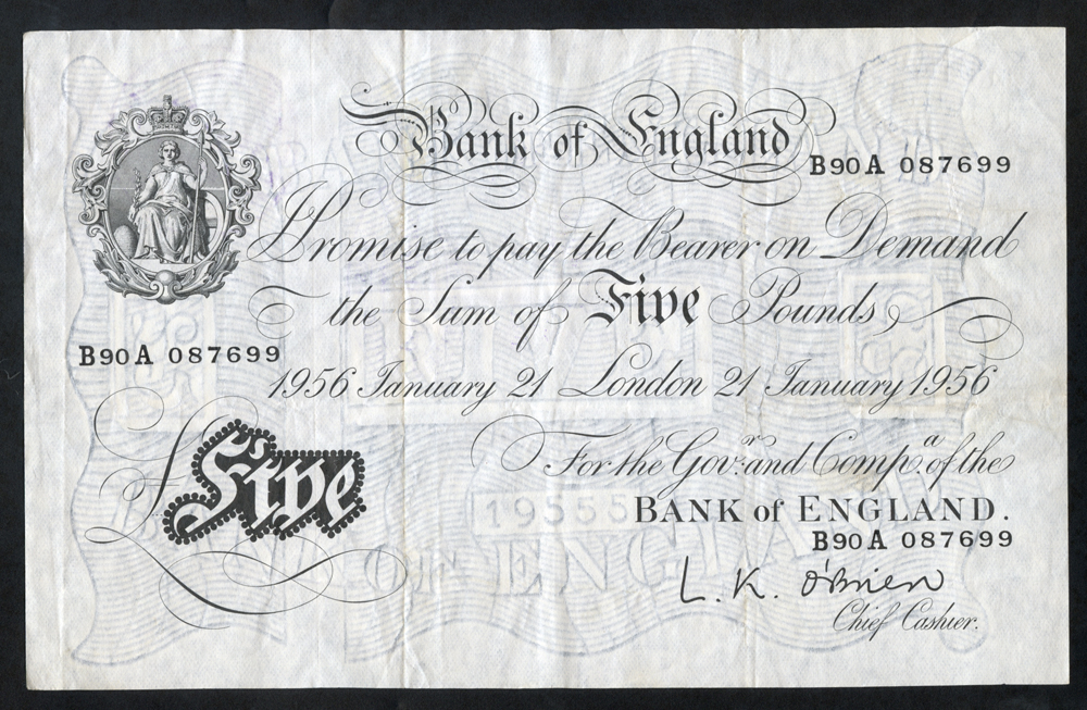 O'Brien £5 White, B276, dated 21st Jan 1956