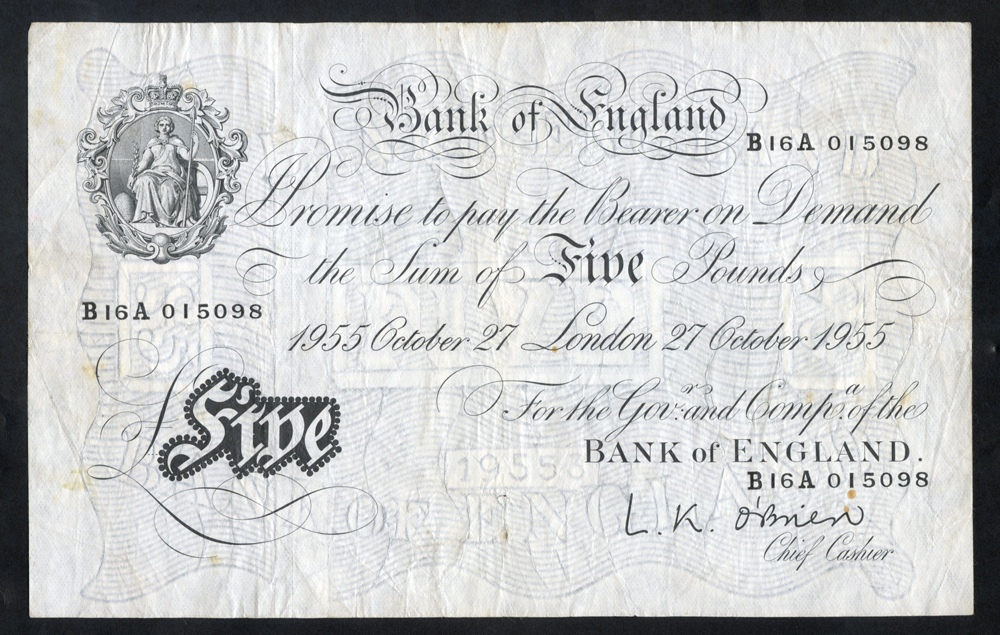 O'Brien £5 White, B276, dated 27th Oct 1955