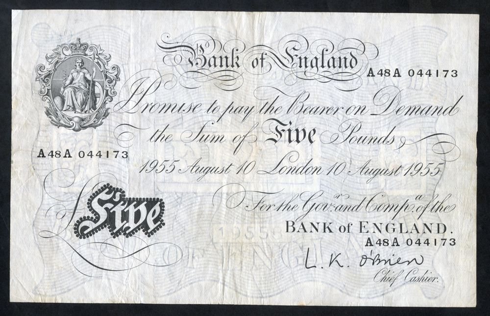 O'Brien £5 White, B276, dated 10th Aug 1955