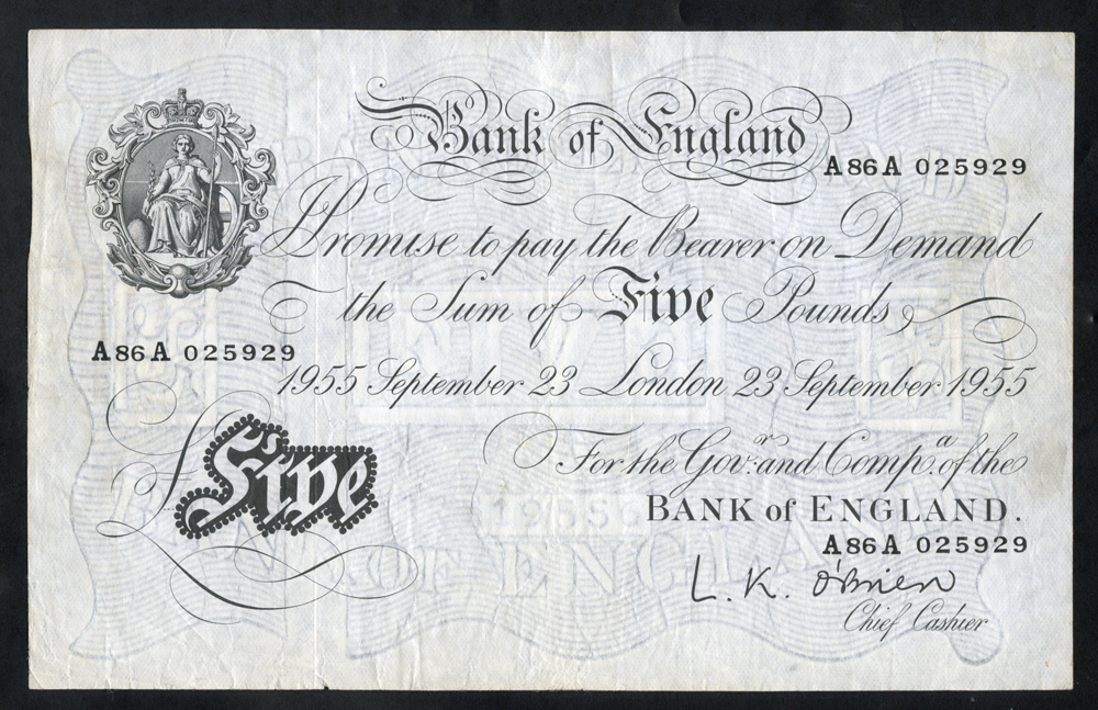 O'Brien £5 White, B276, dated 23rd Sept 1955