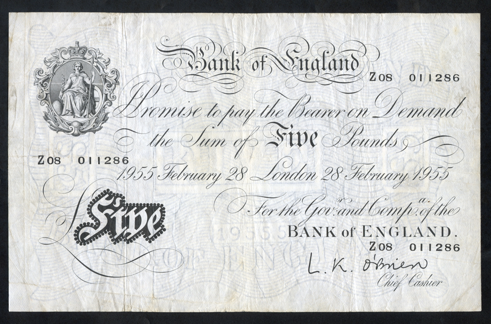 O'Brien £5 White, B275, dated 28th Feb 1955