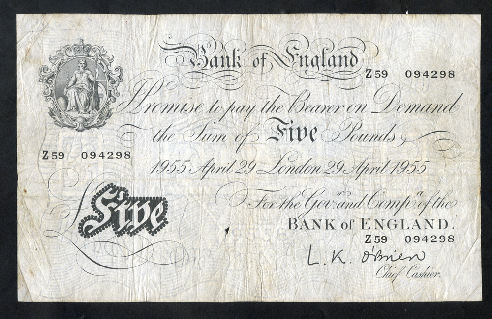 O'Brien £5 White, B275, dated 29th April 1955