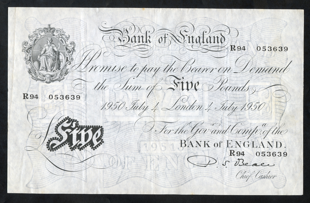 Beale £5 White, B270, dated 4th July 1950