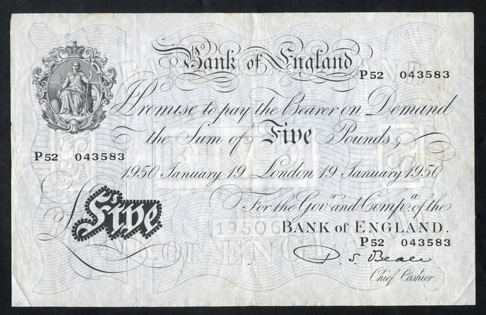 Beale £5 White, B270, dated 19th Jan 1950