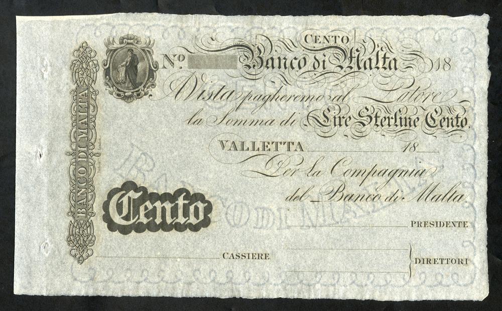 Malta Banco Di Malta 100 lire sterline (£100), unissued dated 18XX