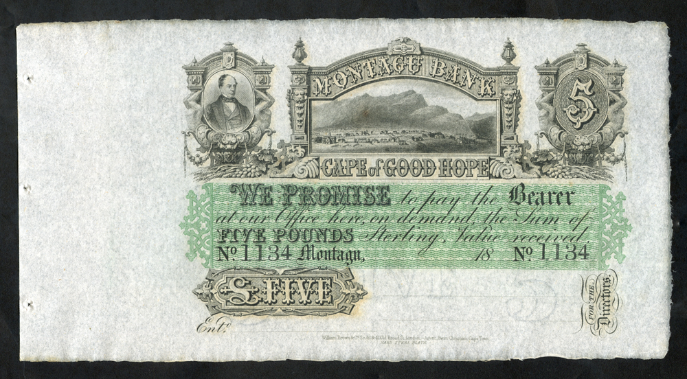 South Africa Montagu Bank £5, unissued dated 18XX