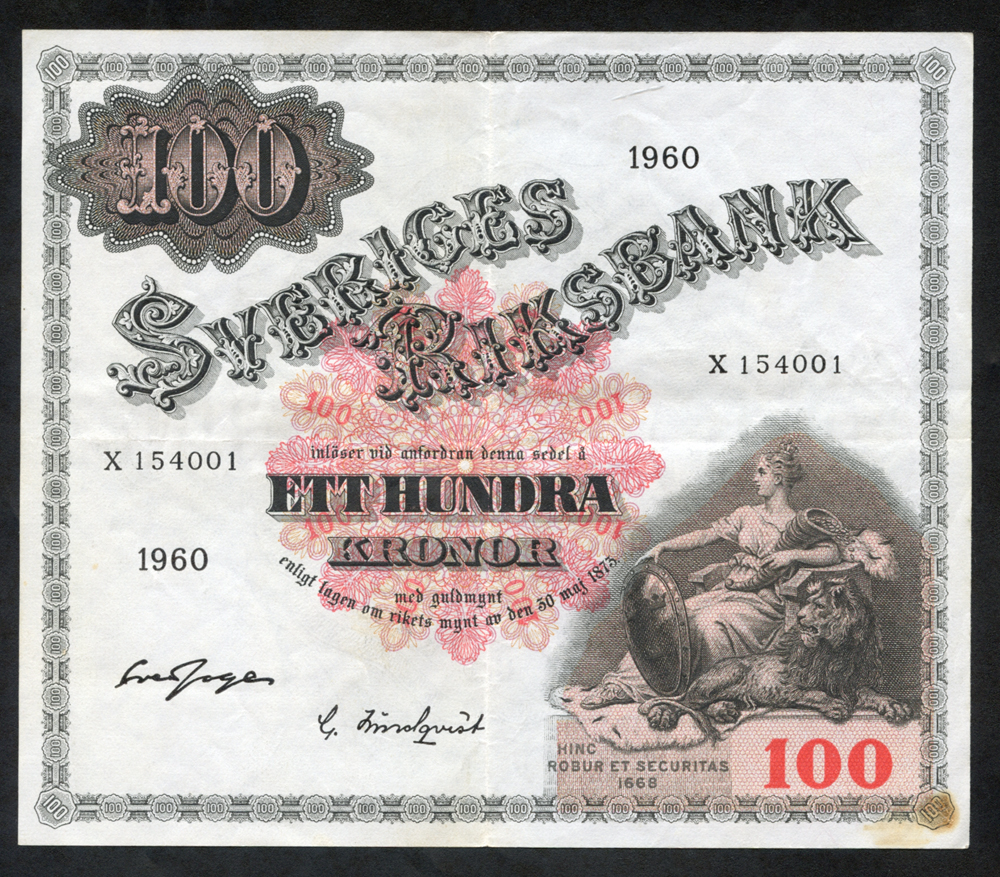 Sweden 100 kronor, dated 1960