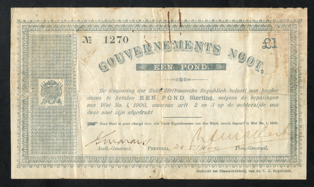 South Africa Gouvernements Noots £1, issued 28.5.1900