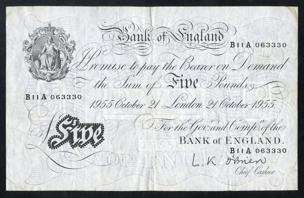 O'Brien £5 White, B276, dated 21st Oct 1955