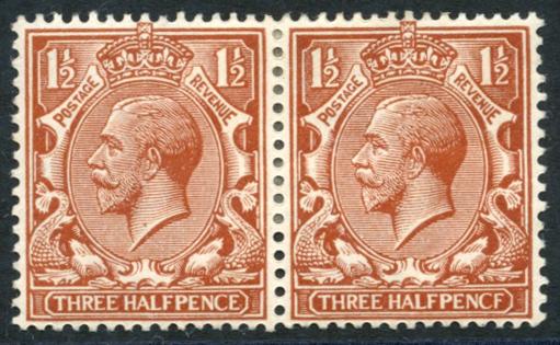 1912 1½d chestnut 'PENCF' error, SG.364a.