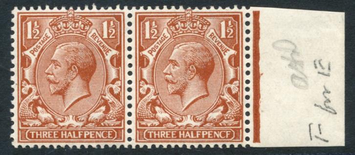 1912 1½d chestnut 'PENCF' error, marginal pair, SG.364a.