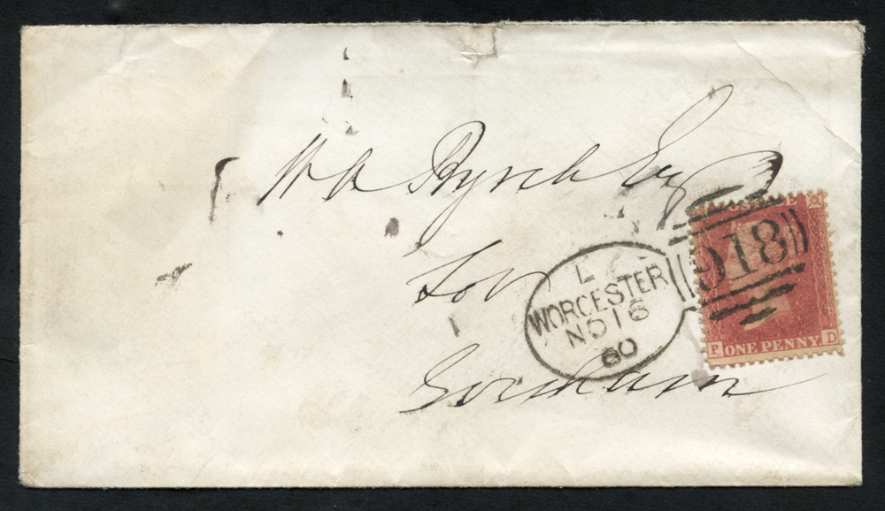 1860 envelope to Evesham, tied Type A 'Worcester 918' code 'L'