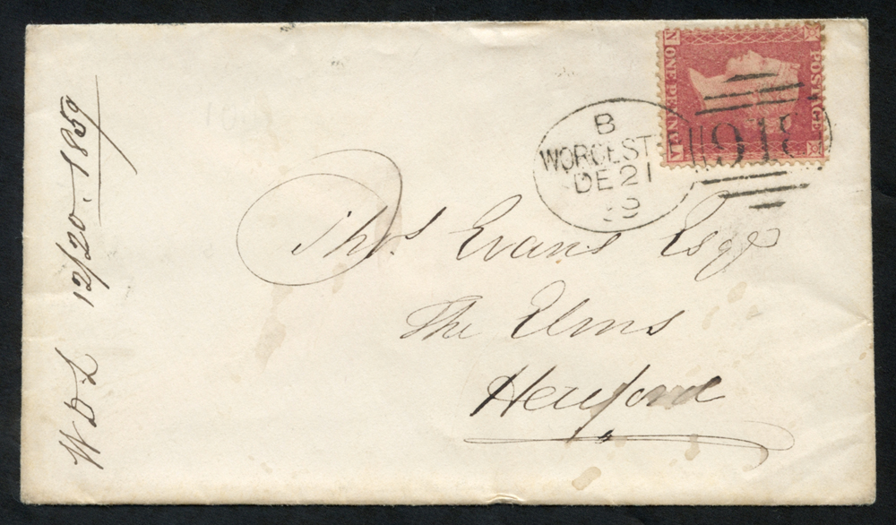 1859 envelope to Hereford, tied by a superb 'Worcester 918' code 'B'