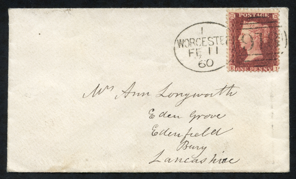 1860 envelope to Bury, Lancashire, tied by a superb 'Worcester 918' code 'I'