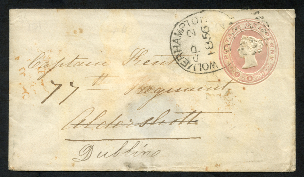 1856 One Penny pink stationery envelope to Dublin