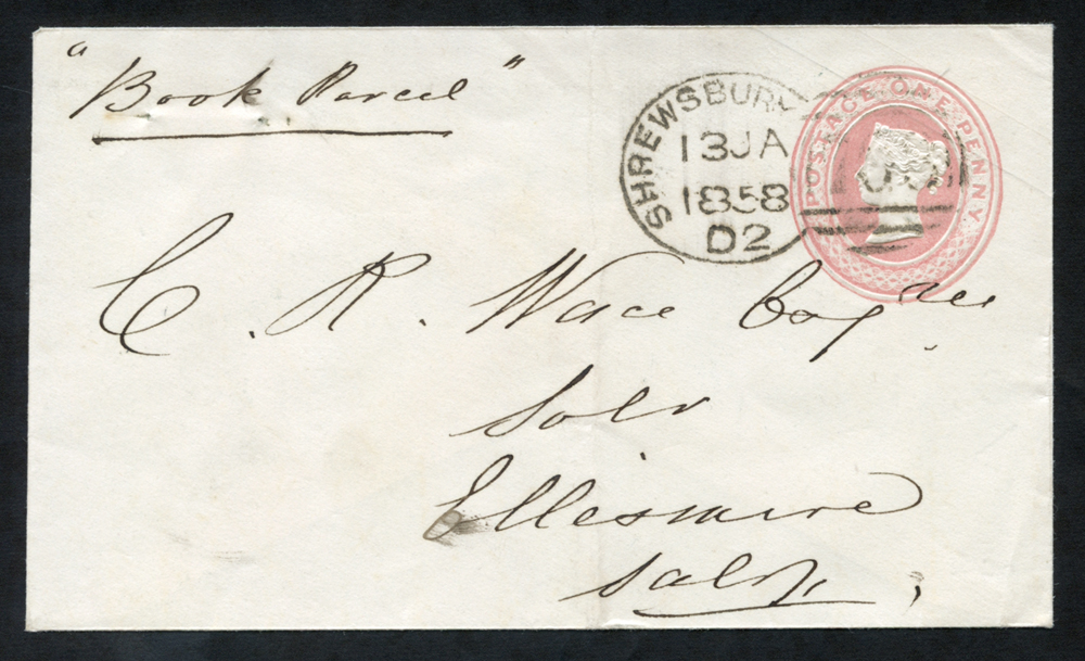 1858 One Penny pink envelope to Salop