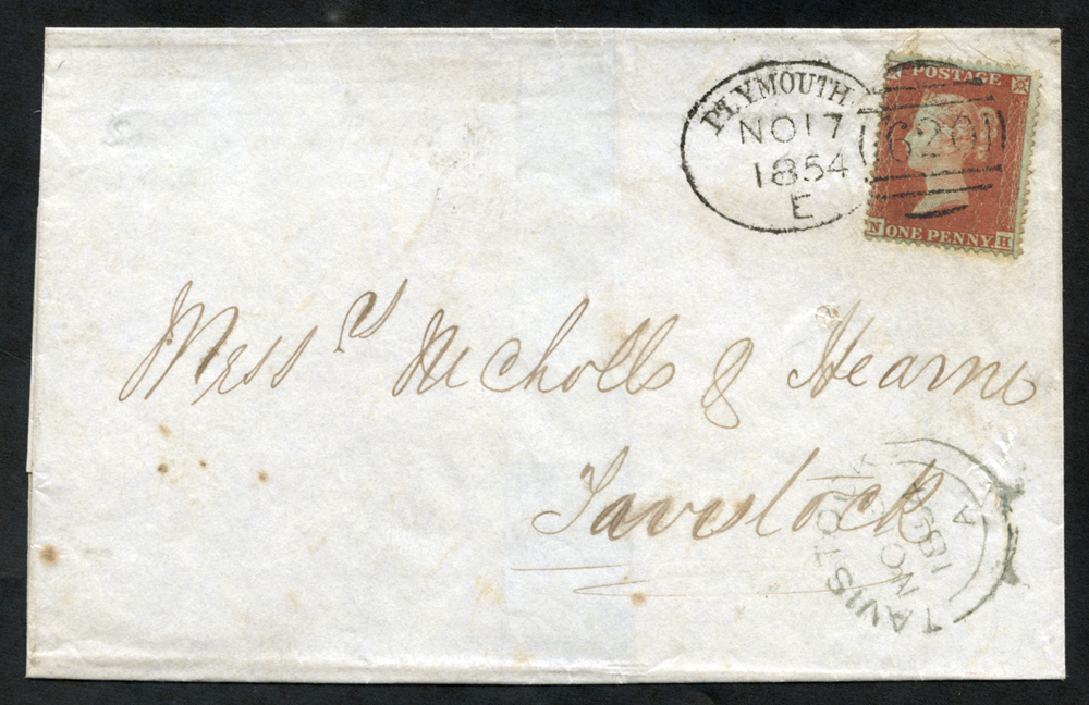 1854 cover to Tavistock, tied very fine 'Plymouth620' code 'E'