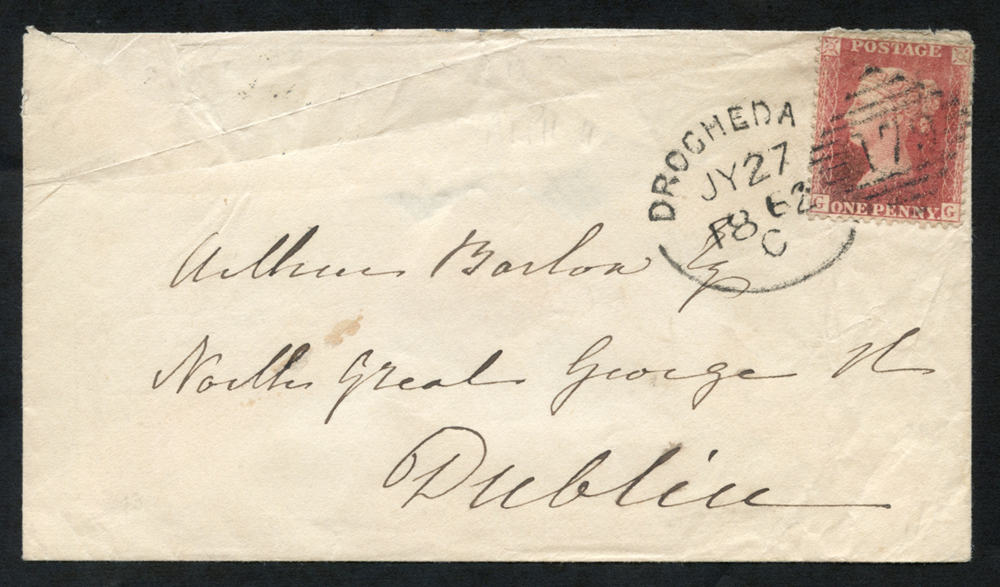 1862 envelope to Dublin, tied by 'Drogheda 179' code 'C'