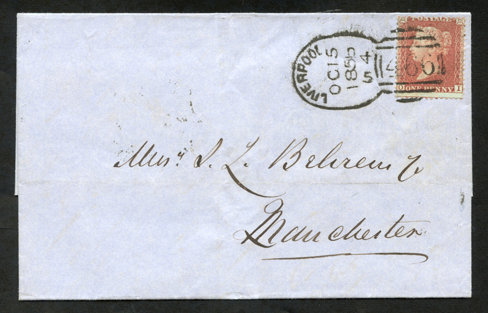 1856 cover to Manchester, tied 'Liverpool 466' Spoon