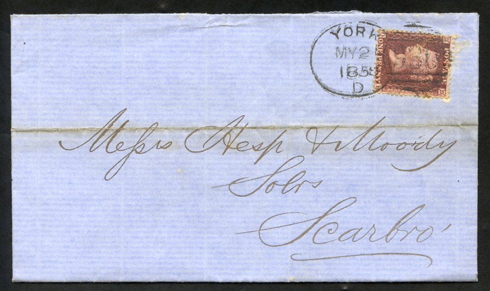 1858 cover to Scarborough, tied 'York 930' code 'D'