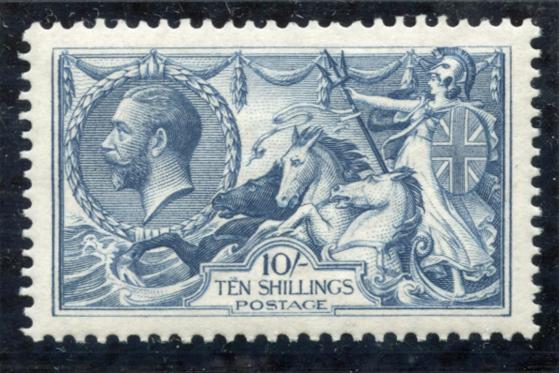 1918 Bradbury 10s dull grey blue, SG.417