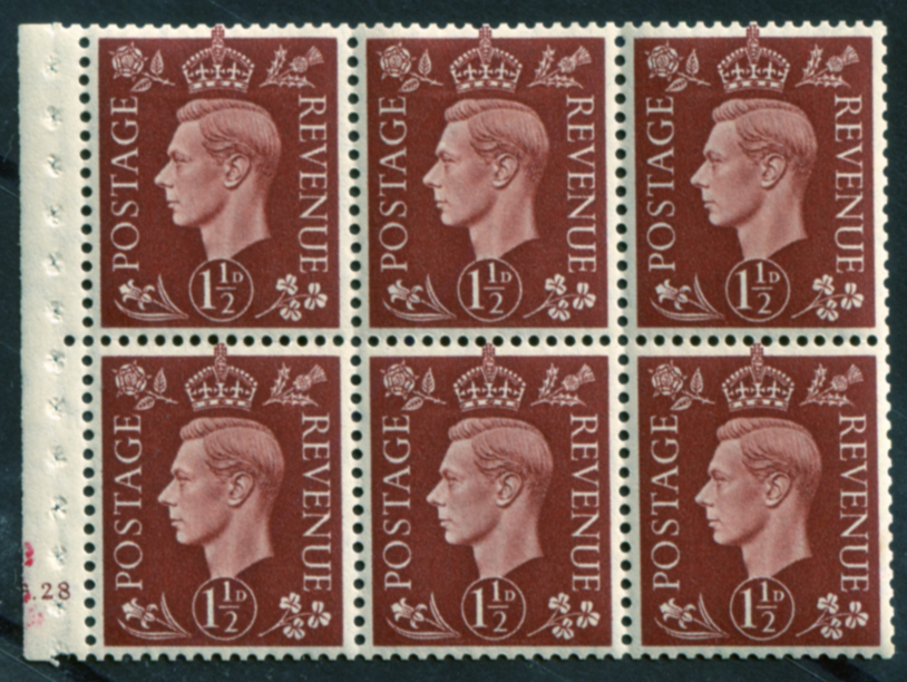 1937 1½d red-brown booklet pane of six, UM