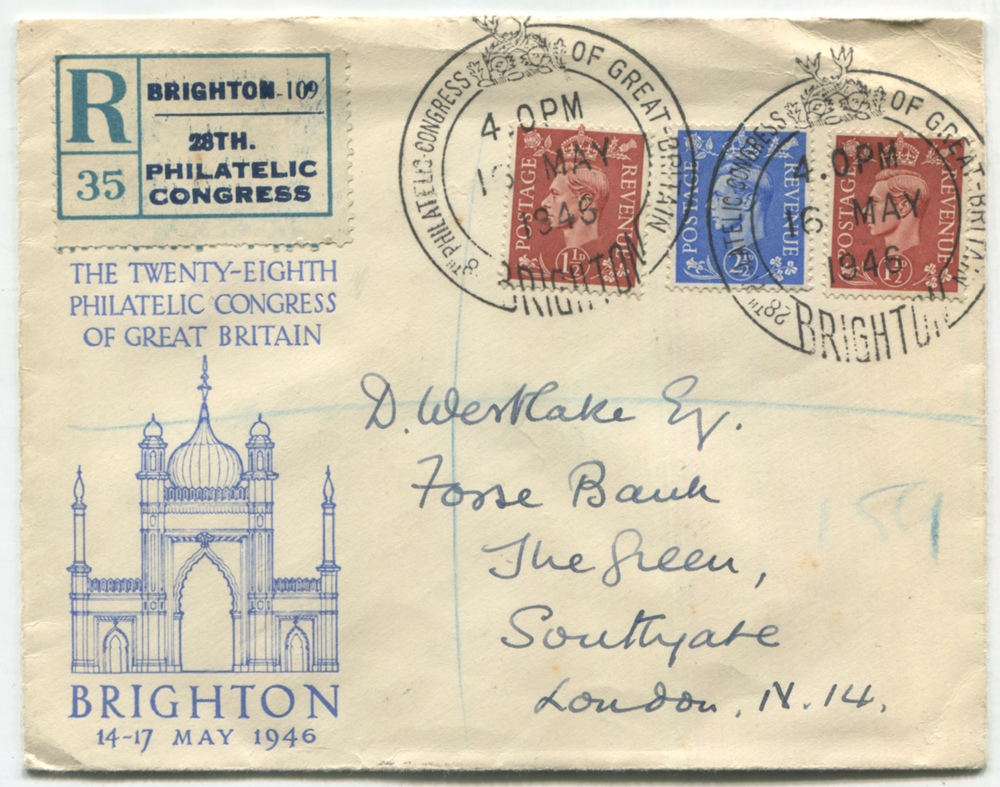 1946 PHILATELIC CONGRESS of Great Britain, Brighton illustrated envelope