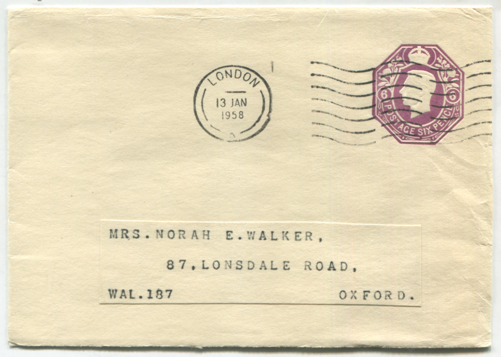 1958 S.T.O 6d purple envelope to Oxford