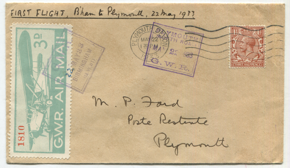 1933 May 22nd first flight cover by G.W.R Air Mail from Birmingham to Plymouth
