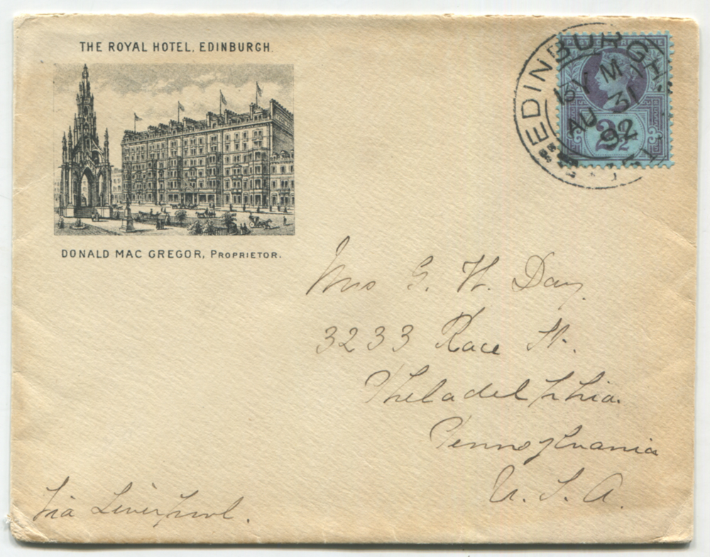 1892 illustrated envelope from the Royal Hotel Edinburgh to USA, franked 2½d Jubilee