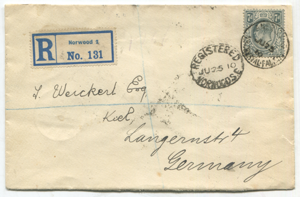1910 registered 'Norwood' envelope to Germany, franked 7d grey-black