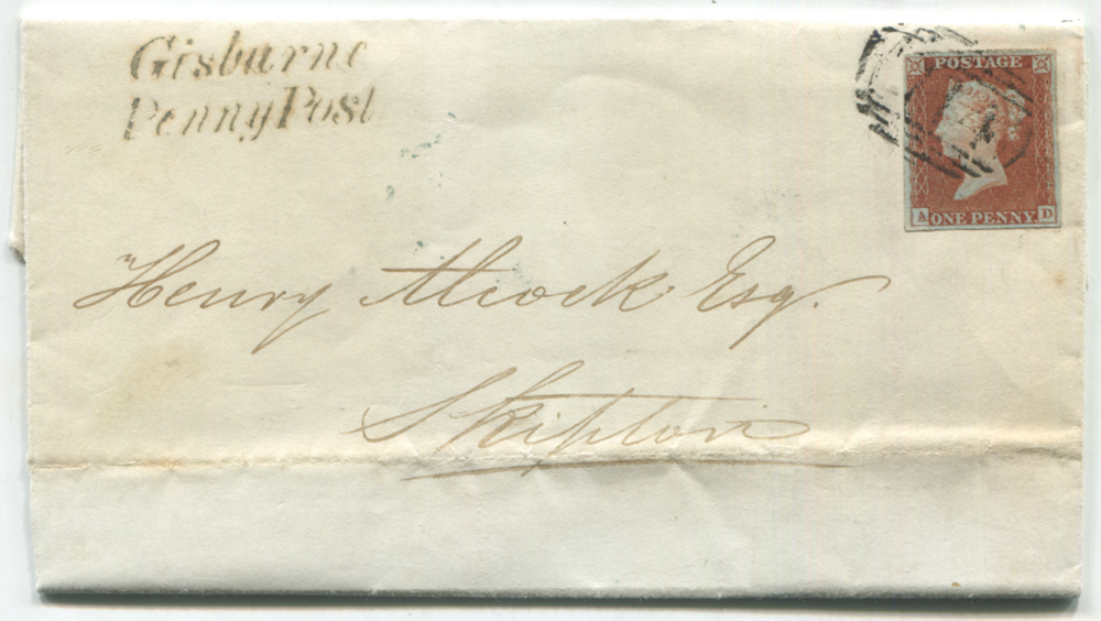 1844 entire letter from Gisburne to Skipton, franked 1841 1d red