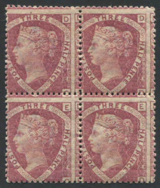 1870 1½d rose red Pl.3 DC/ED block of four, fine Mint