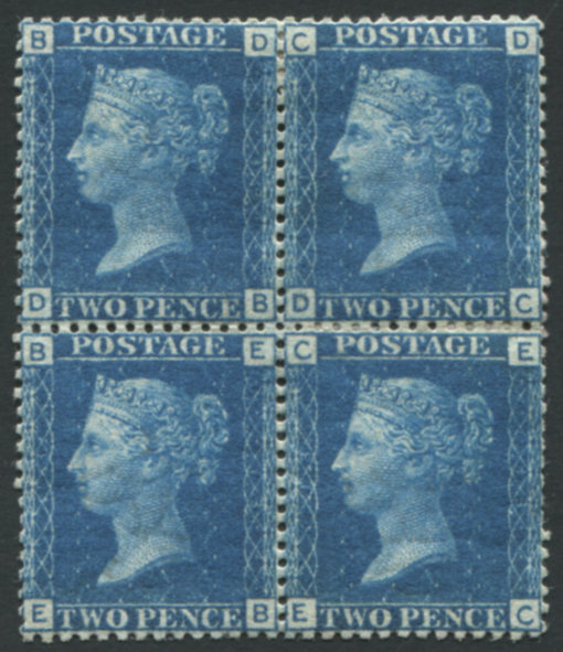 1858 2d blue Pl.13 DB/EC block of four, Mint