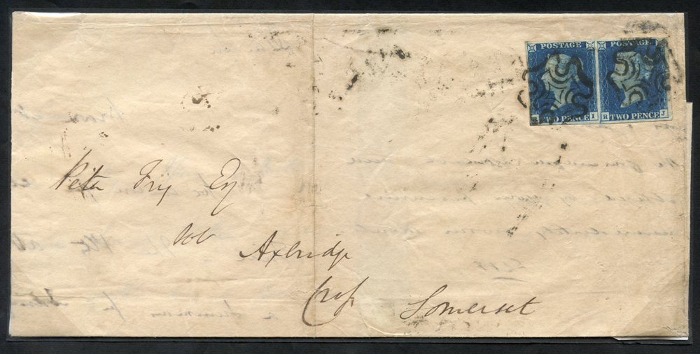 1841 July cover to Axbridge, Somerset, Pl.2 RI-RJ, black MC's
