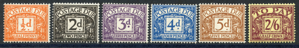 1955-57 Postage Due set, SG.D40/D45. (6)
