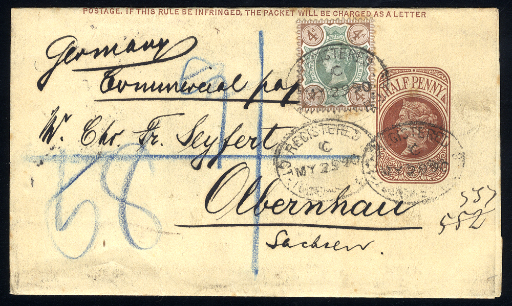 1890 halfpenny wrapper registered & uprated with 4d Jubilee to Olbernhau
