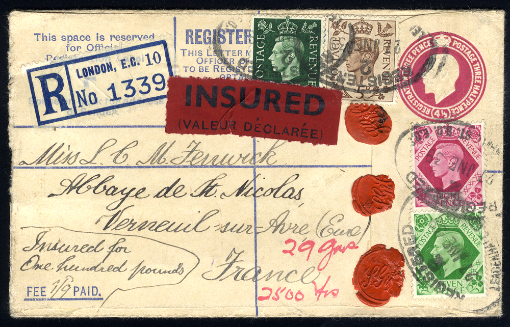 1939 4½d reg envelope uprated with KGVI defins ½d, 5d, 7d & 8d