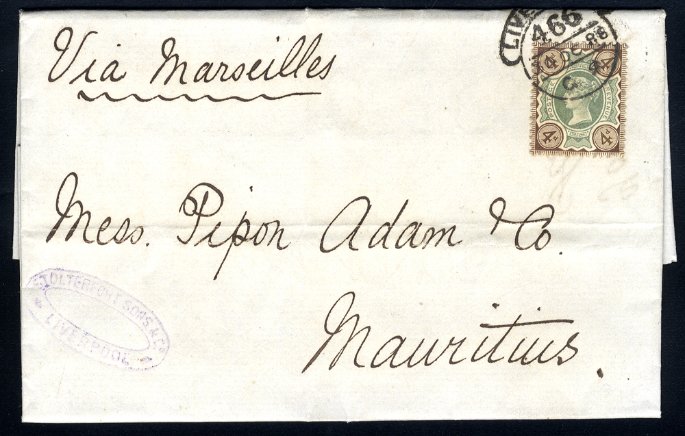 1888 entire letter from Liverpool to Mauritius, franked 4d Jubilee